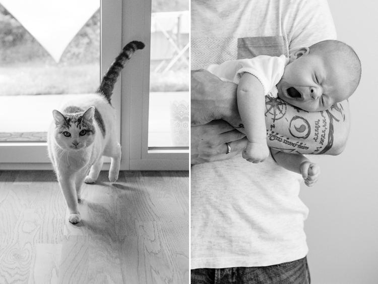 gähnendes Baby und süße Katze